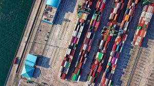 Aerial view of shipping containers