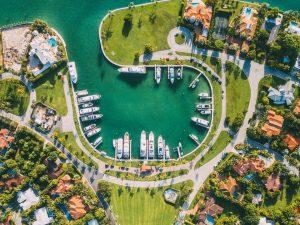 aerial view of a luxury neighborhood by the water